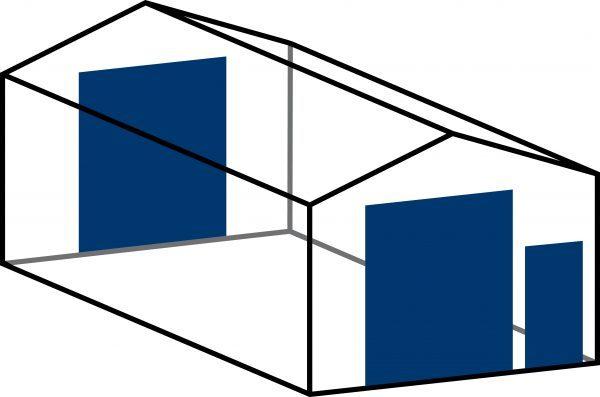 1 x roldeur 366x305 cm (H x B) en 1 x loopdeur in voorwand + 1 x roldeur 366x305 cm (H x B) in achterwand