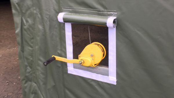 T1220-storage-shelter-green- door-winch
